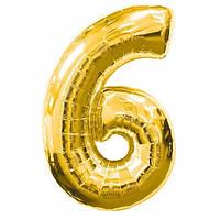 Шар фольгированный золотой, цифра 6 (60 см)