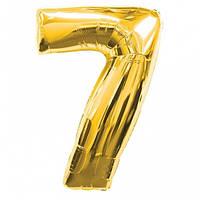 Шар фольгированный золотой, цифра 7 (60 см)