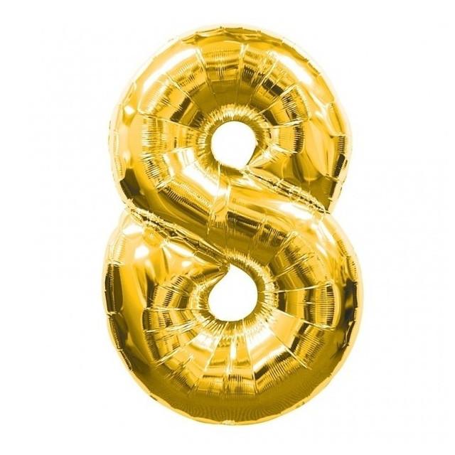 Шар фольгированный золотой, цифра 8 (60 см)