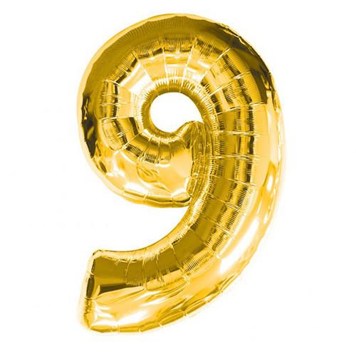 Шар фольгированный золотой, цифра 9 (60 см)