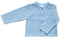 Ажурный жакет для девочки, цвет голубой, рост 74-80 см
