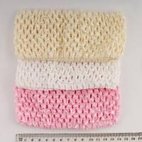 Повязка для волос ажурная широкая, ширина 7 см, розовая