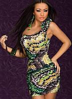 Цена закупки. Короткое платье с расцветкой под перья L2527-4