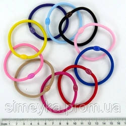 Резинка для волос большая тонкая цветная, диаметр 6 см, упаковка 25 шт.