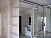 Угловой шкаф-купе с зеркалами в прихожую на заказ в Киеве
