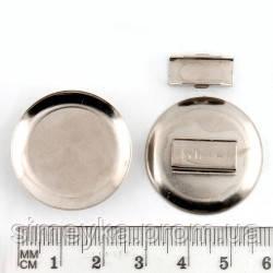 Основа-платформа (тарілочка) для кріплення прикраси і гумки для волосся до неї 2,3 см срібляста
