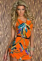 Полная распродажа. Оранжевое платье с принтом из перьев под поясок L2758-3