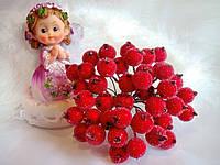 Ягоды калины в сахаре красного цвета. Пучок 5 проволочек (10 ягод).