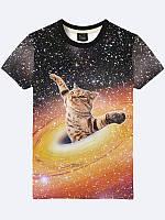 Футболка мужская Cat in black hole 3D