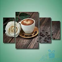 Модульная картина Кофе и роза из 4 фрагментов