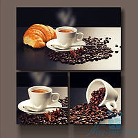 Модульная картина Кофейное утро из 3 фрагментов