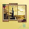 Модульная картина Красное вино из 3 фрагментов
