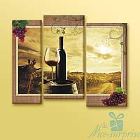 Модульная картина Красное вино из 3 фрагментов, фото 1