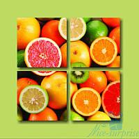 Модульная картина  Сочные фрукты из 4 фрагментов
