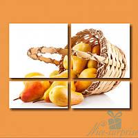 Модульная картина  Спелые груши из 4 фрагментов