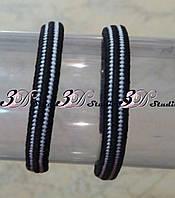 Резинка для волос двухцветная черно-белая ширина 0,6 см