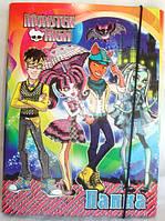 """Папка картонная для тетрадей """"Monster High - Свидание"""", (на резинке)"""