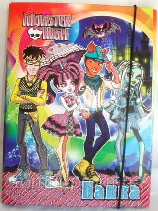 """Папка картонная для тетрадей """"Monster High - Свидание"""", (на резинке), фото 2"""