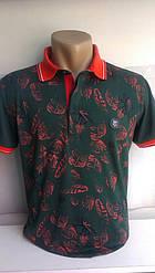 Мужская футболка-поло ETTE новинка этого сезона c вышивкой на груди код 8015 темно-зеленая