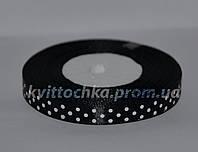 Атласная лента в горошек 1 см (23 м), цвет - чёрный