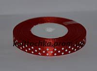 Атласная лента в горошек 1 см (23 м), цвет - красный