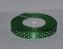 Атласная лента в горошек 1 см (23 м), цвет - зелёный