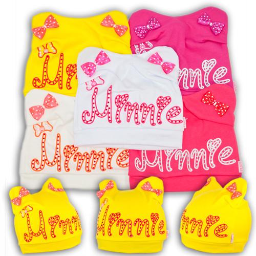 Шапочки трикотажные для девочек с ушками, производитель Польша, BSK 66