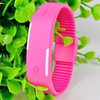 Спортивные LED часы розовые