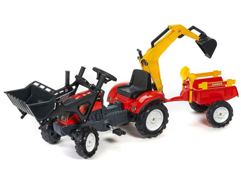 Трактор педальный с двумя ковшами красный Falk 2051CN