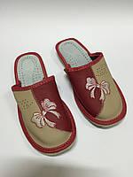Домашние кожаные тапочки женские, фото 1