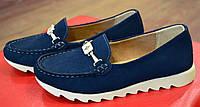 Синие мягкие мокасины женские замшевые All Shoes ( новинка весна, осень, лето )