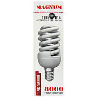 Лампочка энергосберегающая Magnum T2 Mini Full Spiral   11W  Е14 4100K(Распродажа!!!)