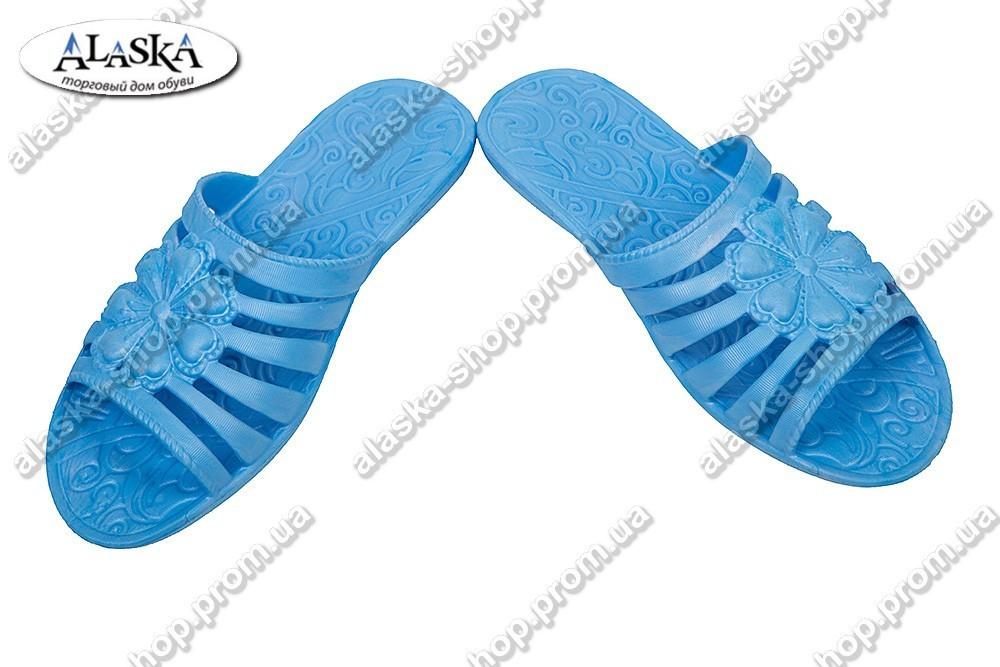 Женские шлепанцы синие (Код: Флора)