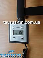 Черный квадратный электроТЭН с LCD экраном + регулятор + таймер (Польша), для полотенцесушителя и радиатора