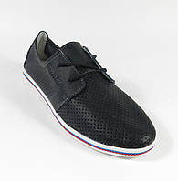 Черные мокасины на шнурках в перфорацию на шнурках