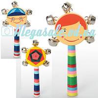 Деревянная игрушка погремушка с бубенцами: 3 вида