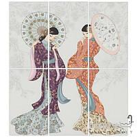 Плитка для ванной APE Ceramica Плитка APE CERAMICA DEC SET(6) GEISHA BLANCO декор 6 (японский стиль)