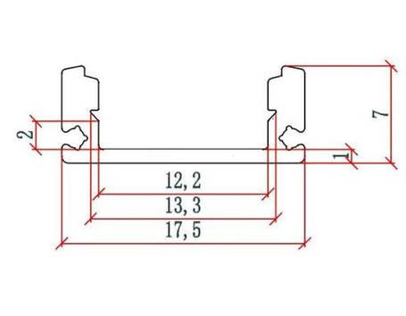 Алюминиевый профиль SL7*17.5мм для LED ленты серебро (за 1м) Код.58386, фото 2