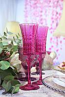 Свадебные бокалы из толстого стекла Диамант.Франция. Розовые