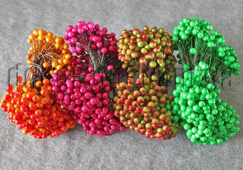Ягода двухцветная на проволоке  8мм/500шт