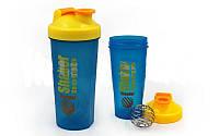 Шейкер с венчиком для спортивного питания FI-4445-BLY (TS1234) (пластик, 600мл, голубой-желтый)
