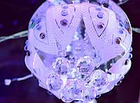 Люстра хрустальная, пульт LED, лампы 3+3