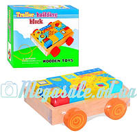 Деревянная развивающая игрушка Конструктор в тележке 0347: 18 деталей