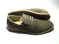 Мужские кожаные летние туфли Alinz classic beige шнурок, фото 1