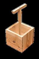 Деревянный ящик для 4х стеклянных бутылок пива 0,33л