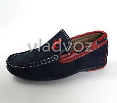 Мокасины, туфли для мальчика Kellaifeng дизайн синий с красным 27р.