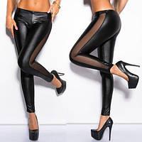 Лосины женские кожаные с отделкой из сетки P2057