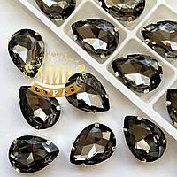 Cтразы в цапах. Капля. Размер 13x18. Цвет Black Diamond