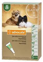 Advocate (Адвокат) Капли от блох, клещей и гельминтов для собак весом до 4 кг - 1 пипетка