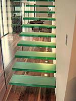 Стеклянные лестницы с подсветкой